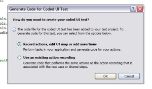 6. Dialog 'Generate Code For Coded UI Test' akan muncul, pilih 'Record actions, edit UI map or add assertions' apabila belum pernah melakukan record action sebelumnya.